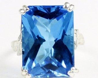On Sale, 30% Off, Swiss Blue Topaz, 925 Sterling Silver Ring, SR039
