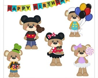 DIGITAL SCRAPBOOKING CLIPART - Birthday Bears