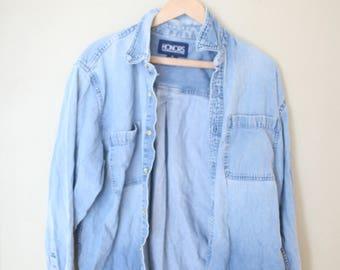 vintage distressed 1990's oversized  blue chambray denim shirt
