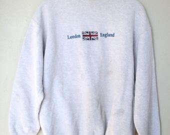 vintage distressed london england heather gray sweatshirt