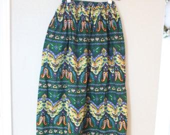 vintage green batik paisley bohemian hippie skirt