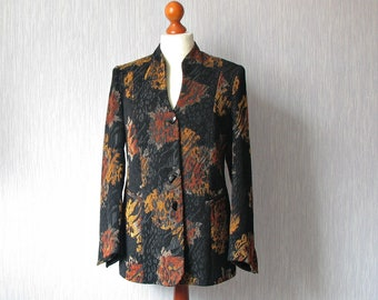 Spring  jacket with decorative buttons Size M/L Classic Style, Black Orange coat Abstract Print Women chic clothing