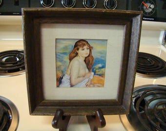 vintage framed art framed art print nude art girl in bath bath