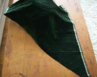 Antique Silk Velvet very Dark Green French Millinery,  Dolls Victorian