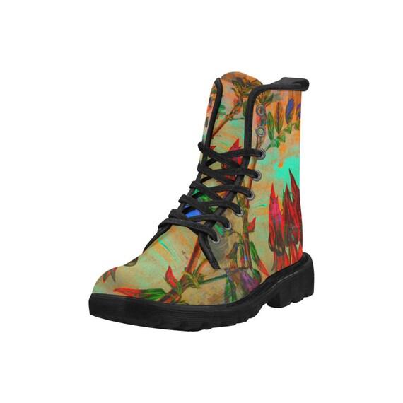 Botanical Sturt pea, Women's high top combat boots, 80's style, feminine prints