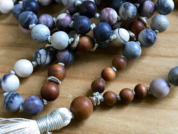 108 Boho Mala Beads, Matte Porcelain Jasper, Sandalwood, Yoga Jewelry, Unisex Mala Beads, Healing Mala Beads, Stress Relief, Aligns Chakras
