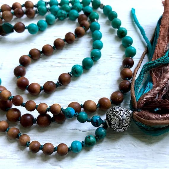 Tibetan Mala Beads - Turquoise & Sandalwood Mala Beads - Eight Auspicious Symbols - Boho Mala Beads - Buddhist Prayer Beads - Yoga Jewelry