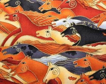 Laurel Burch Rare Oop EMBRACING HORSES Running Horses Fabric - By the Half Yard