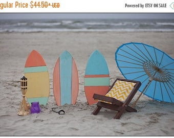 SUMMER SALE Newborn Baby Photography Prop Surf Board and Beach Chair