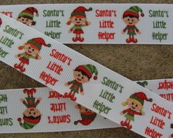 "3 yards Santa's Little Helper Elf Ribbon Grosgrain Ribbon Hair Bow Ribbon 1"" Christmas Ribbon Winter ribbon New Year ribbon printed ribbon"