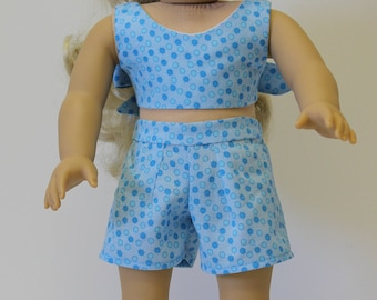 American Girl doll or other 18 inch Doll Shorts and Top Set