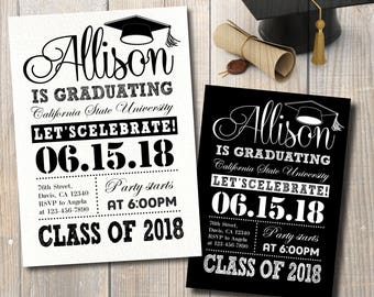Graduation Invitation, Graduation Announcement, Black and White Graduation Party Invitation, Digital Files to Print