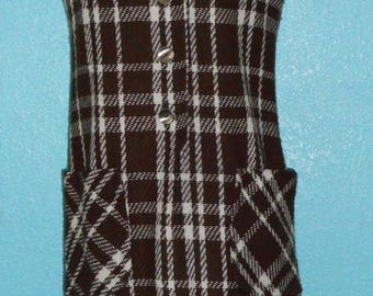 """Sale — was 45.00 — 60s Vintage """"Fritzi"""" Ladies Brown/White Woven Wool Plaid Jumper — Size Small, 4-6"""