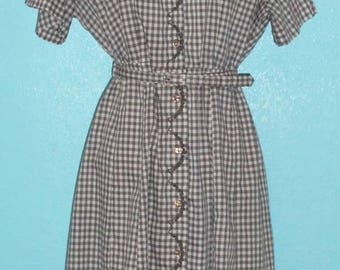 "Sale - all clothing! See shop announcement — 60s ""Caldwell"" Plus Gingham Cotton Blend Rockabilly Hipster Day Dress — Size XXL, 20-22"