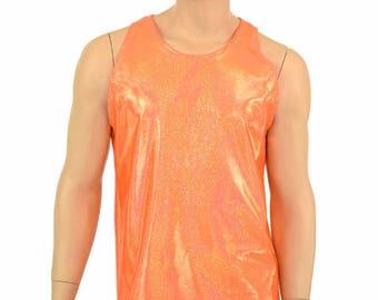 Mens Orange Sparkly Jewel Metallic Lycra Spandex Muscle Shirt Mens Rave or Festival Shirt - 154945