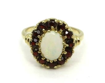 Opal Garnet 14K Gold Ring Vintage Estate Halo Cocktail Ring Anniversary Birthstone Ring Size 6
