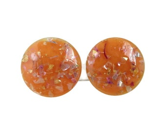 Vintage Orange Lucite Earrings, Confetti Button Clip-ons