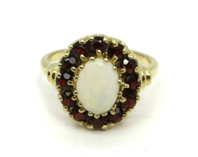 ON SALE! Opal Garnet 14K Gold Ring Vintage Estate Halo Cocktail Ring Anniversary Birthstone Ring Size 6