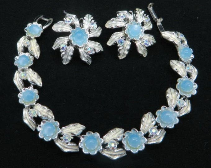 Judy Lee Bracelet Earrings, Blue Moonstone AB Rhinestone Vintage Silver Tone Demi Parure, Anniversary Gift, Birthday Gift