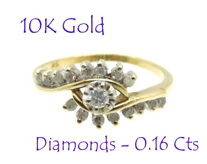 Diamonds - 10K Gold Diamond Ring, Vintage Cluster Cocktail Dinner Ring, Anniversary Gift, Size 7