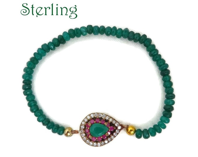 Vintage Emerald Bead Bracelet, Sterling Silver Faux Emerald and Ruby Stretch Beaded Bracelet, Valentine Gift, Gift Boxed