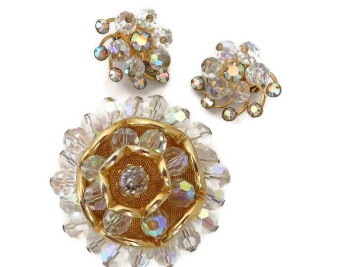 Vintage Crystal Brooch & Earrings Set, Gold Tone Rhinestone Demi Parure