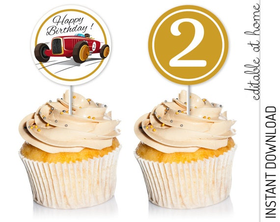 Race Car Cupcake Topper INSTANT DOWNLOAD