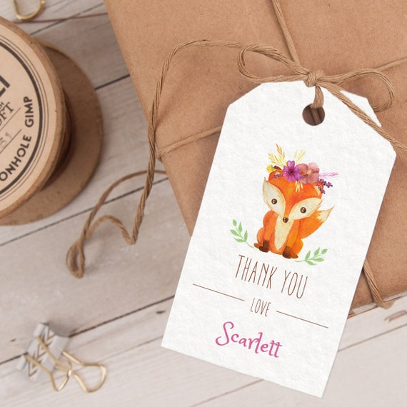 Woodland Favor Tag, Woodland Thank You Tag, Woodland Party Favor, Woodland Party Printable INSTANT DOWNLOAD editable at home