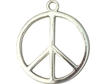 12 Silver Peace Sign Charm Pendant Medium 28x24mm by TIJC SP0023