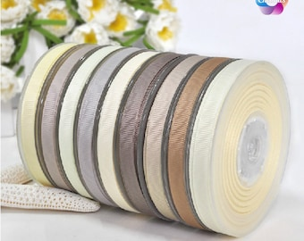 """10 yards, 1/4"""", 3/8"""", 5/8'', 3/4'', 7/8'', 1'' Grosgrain Ribbon Taupe Cream Ginger Snap Vanilla Ivory Deep Sage Soft Pine Fossil For Wedding"""