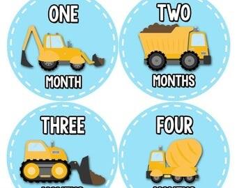 Monthly Baby Milestone Stickers Baby Boy Baby Shower Gift One-Piece Baby Stickers Monthly Baby Stickers Baby Month Sticker Construction 1088