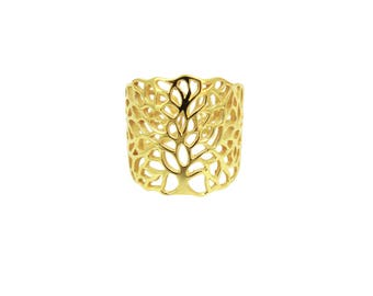 """Tree of life cuff ring model """"The tree of Chloe"""" silver plated"""