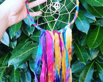 Rainbow Tie Dye Dreamcatcher, hippie dream catcher