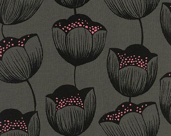 Pre-order: Magic Tulips in Grey (Rayon Fabric) by Sarah Watts from the Magic Forest collection for Cotton and Steel #2058-25 by 1/2 yard
