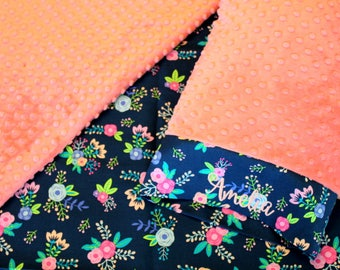 Navy Floral Nap Mat Cover - Coral Minky Blanket - Roses - Choose Your Colors - Kindermat - Back To School - Pillowcase - Blanket