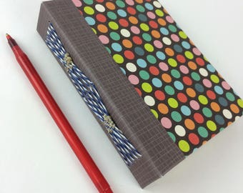 Small polka dot hand bound journal - notepad - long stitch with beads on spine - Sketchbook - poetry book - tea stained pages -