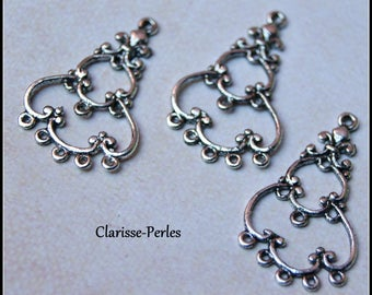 6 charms 20x34mm silver candlestick 2.5 mm hole