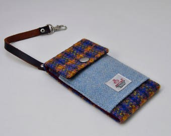 HARRIS TWEED fabric small phone case/card holder -  with short strap