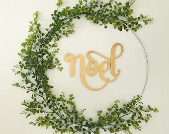 Christmas wreath, modern wreath, hoop wreath, noel wreath, christmas decor, door wreath, front door wreath