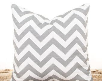 SALE ENDS SOON Throw Pillows, Gray Zig Zag Throw Pillow Cover, Chevron Pillowcase, Gray and White Sofa Cushion, Bed Pillows, Soft Cotton Pil