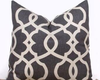 SALE ENDS SOON Gray Lattice Throw Pillow Cover, Designer Pillows, Gray and Cream Throw Pillows, Contemporary Home Decor, 22 x 22