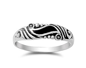 Men Women 5mm 925 Silver Simulated Black Onyx Vintage Style Wedding Band  Ring(SNRS130711)