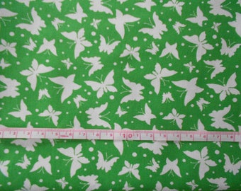 Fabric: Embroidery patterns butterflies green 10cm