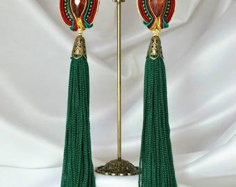Soutache and fringe earrings