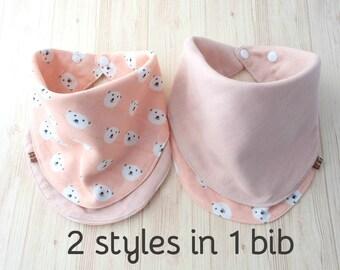Baby Bib,Reversible,Scarf Bib,Handkerchief,Smilling Polar Bear on Peach / Pink,Japanese Muslin,Cotton,Super Soft,Girl Infinity Bib