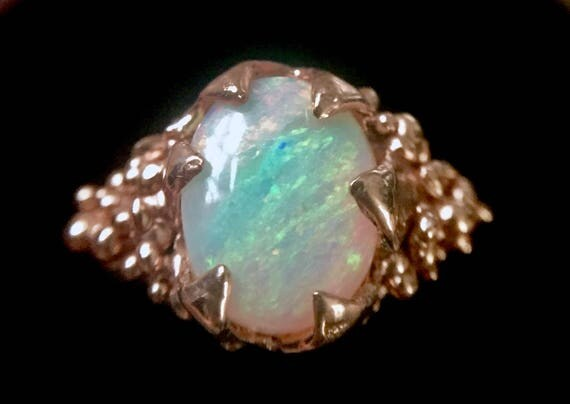 Solid Rose Gold Ring Rainbow Oval Australian Opal One of a Kind Solitaire with Amazing Flash 10K Red Rose Pink Gold. Size 6.5
