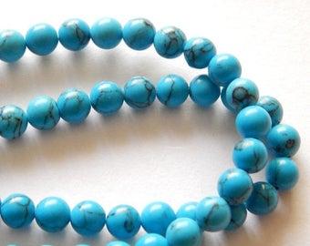 SALE 6mm Blue Howlite Beads