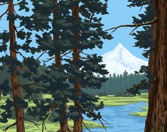 Metolius River, Oregon & Mt. Hood - Lantern Press Artwork (Art Print - Multiple Sizes Available)