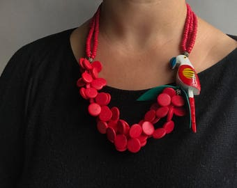 Chunky Hand Painted Wooden Parrot Beaded Necklace