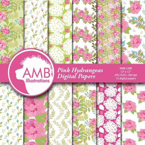 Hydrangea Digital Papers Floral Digital Papers Shabby Chic Papers